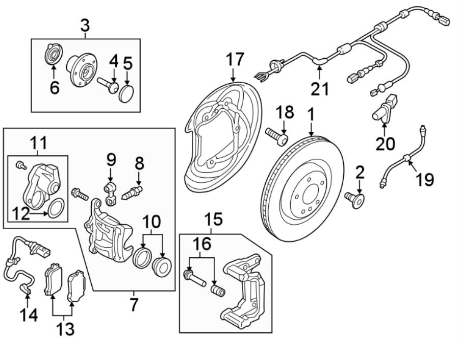2016 Audi A4 Abs Wheel Speed Sensor Wiring Harness  Awd