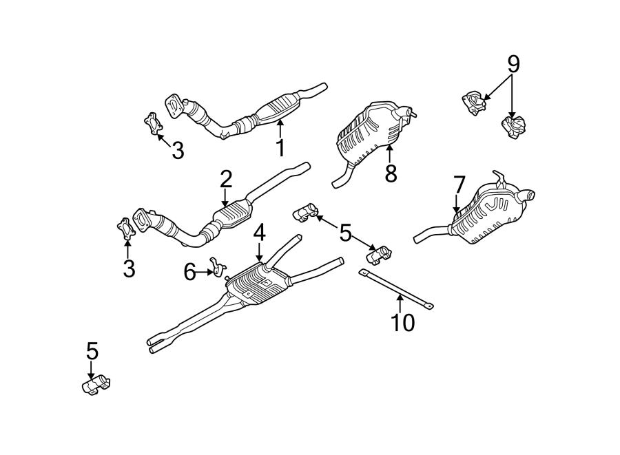 Audi A6 Exhaust Muffler  Front  Rear   3 0 Liter V6  W