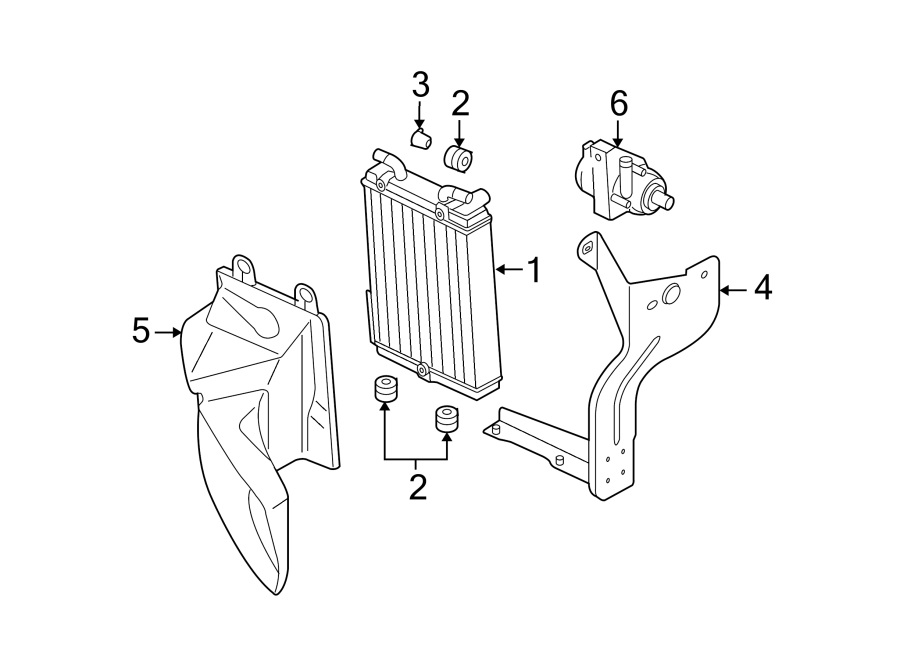 4f0317827k - radiator mount bracket  4 2 liter  auxiliary  group  cooling  components