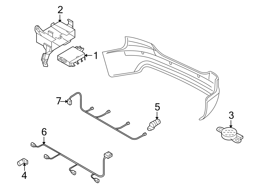 4l0971095dg - parking aid system wiring harness  park aid  front
