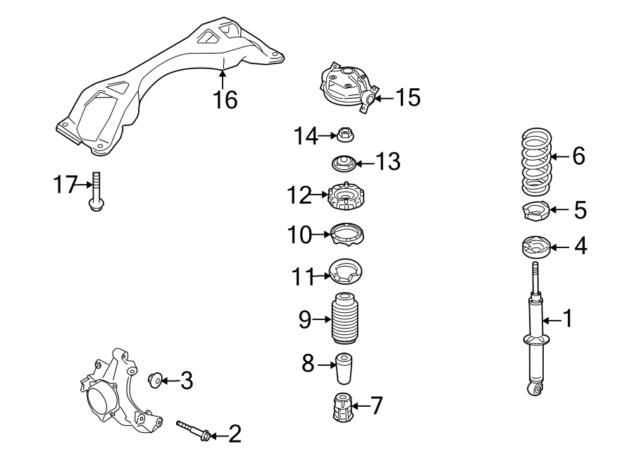 2010 Audi Q7 Coil Spring Insulator  Upper  Lower