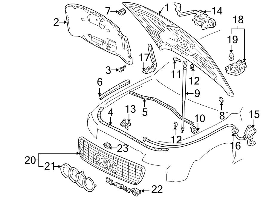 1999 audi a4 hood stop buffer  components  front  bumper