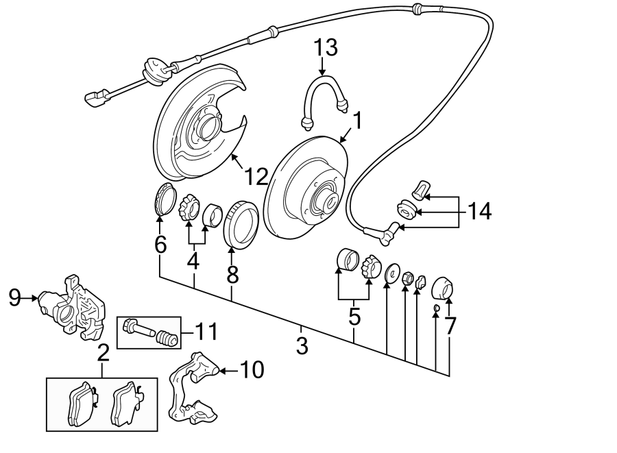 8a0927807c - abs wheel speed sensor  rear   wquattro  suspension  components