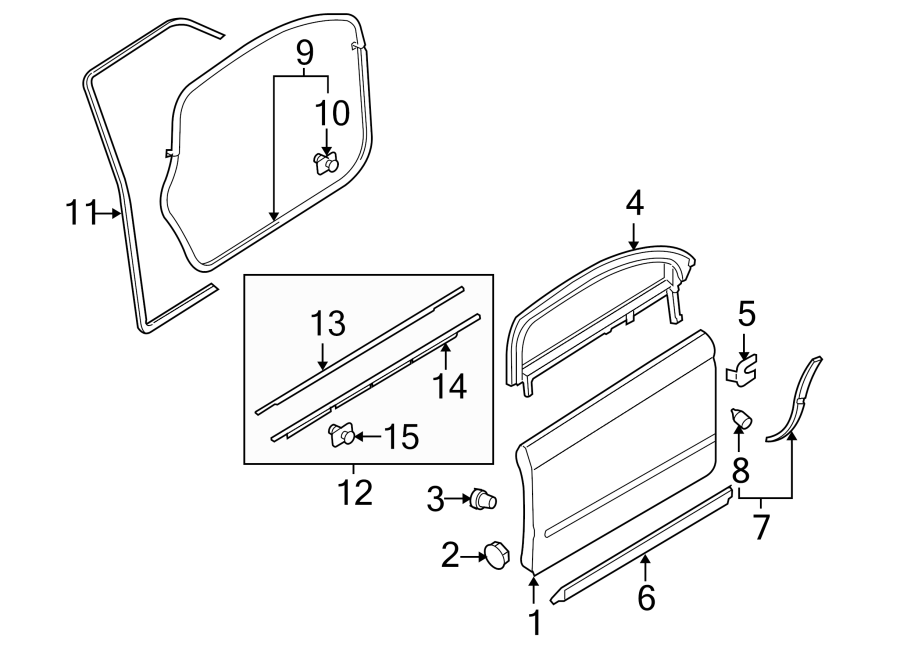 2003 audi a4 door seal  lower   front  components  right - 8e0837912m