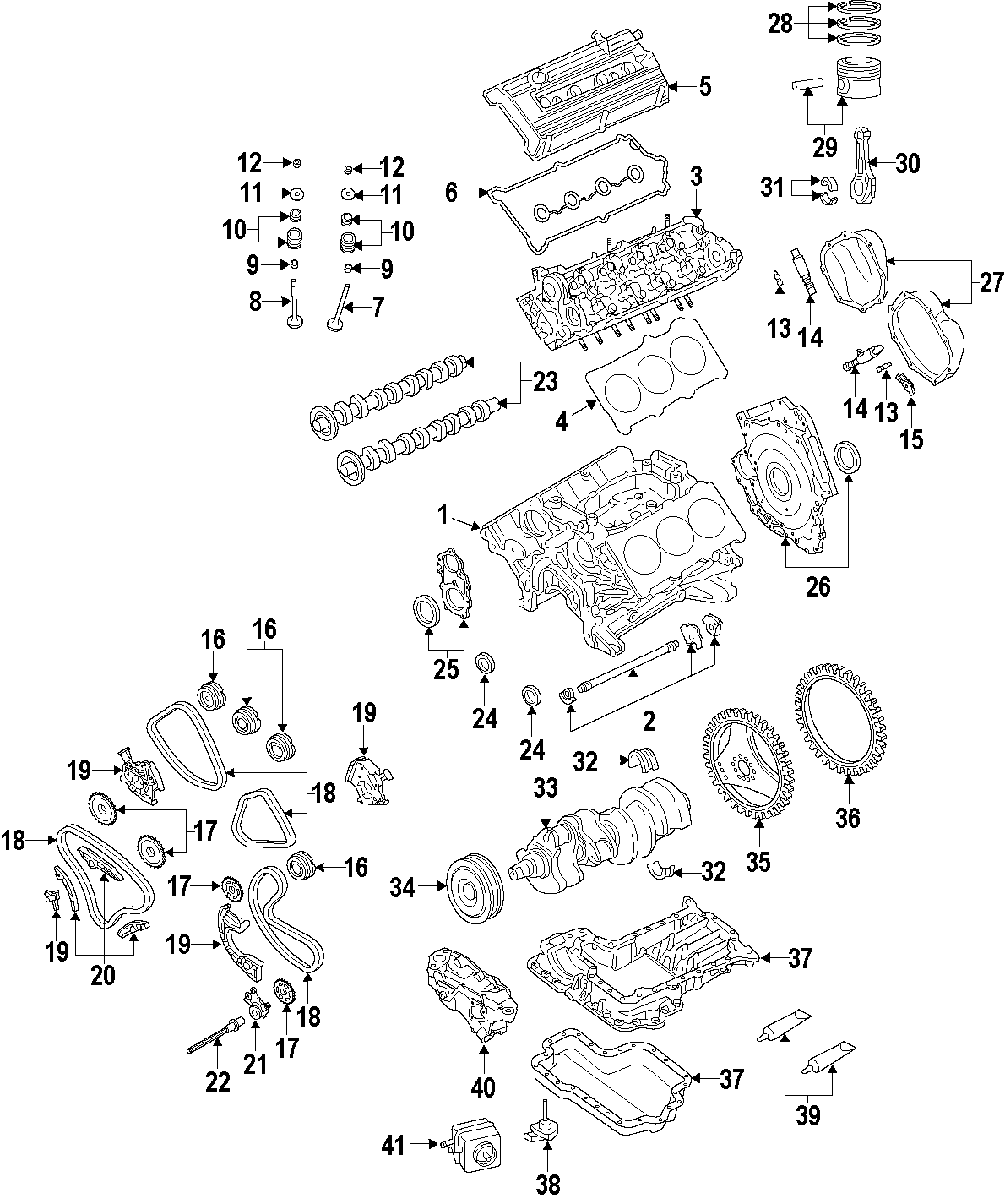 2007 Audi A4 Engine Timing Chain  Upper  Along  Center