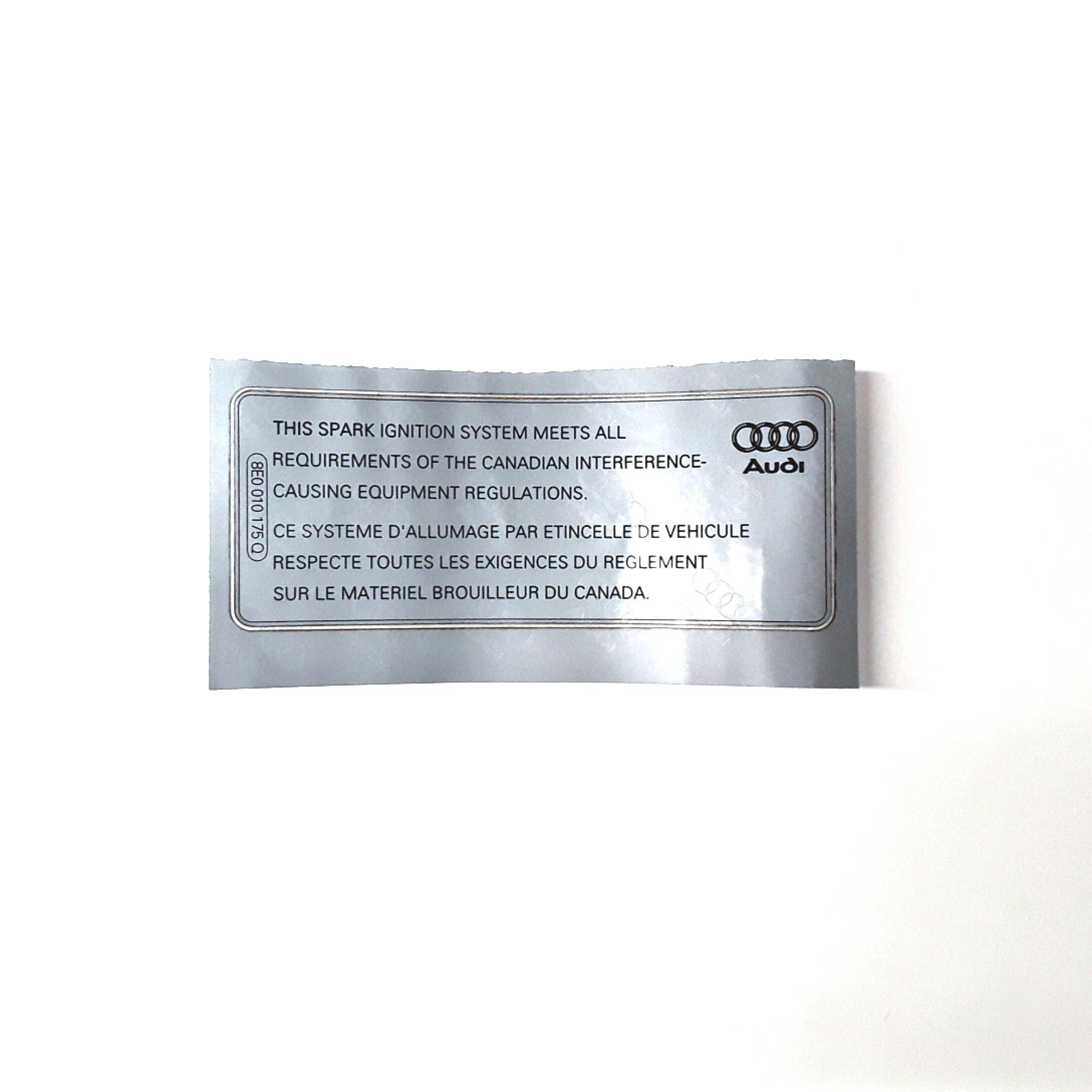 2014 Audi Q5 Label  2 0 Liter  Ignition System  Engine